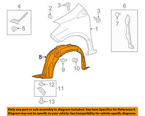 toyota oem 15 16 yaris front fender liner splash shield right Fender Stratocaster Schematic Diagram image is loading toyota oem 15 16 yaris front fender liner