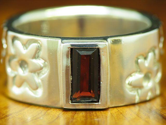 925 Sterling silver Ring mit Granat Besatz   bluemen   Echtsilver   9,7g   RG55,5