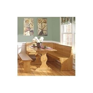 Kitchen breakfast nook pine wood dinette set bench dining corner table storage - Corner bench kitchen table sets ...