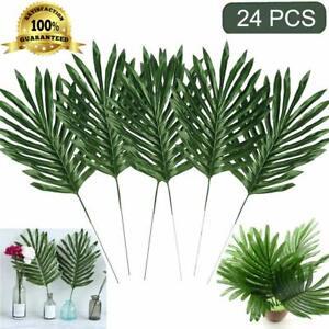 24pc Artificial Palm Plants Leaves Faux Tropical Large Leaf Palm