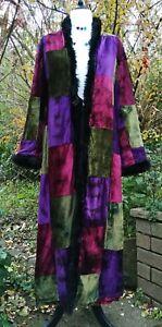 NOMADS FAIRTRADE Colourful Teal Retro Floral Print Woven Cotton Boho Coat UK 12