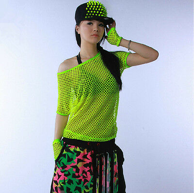 2014 New Hollow out hip hop top dance female Jazz costume wear neon Sexy t-shirt