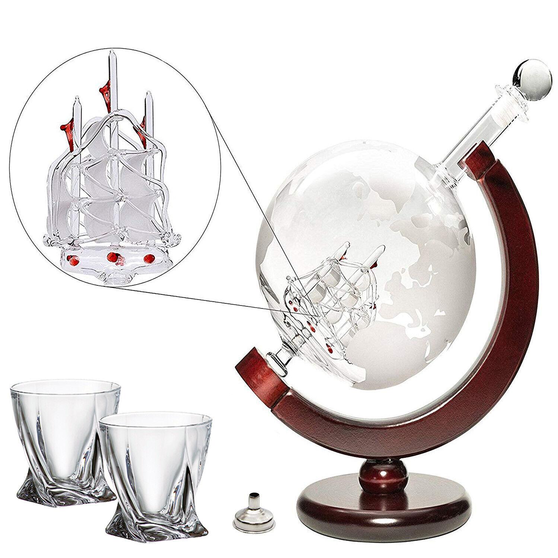 Large 50 Oz 'Ship' Handmade Whiskey Etched Globe Decanter Set, Diamond glasses
