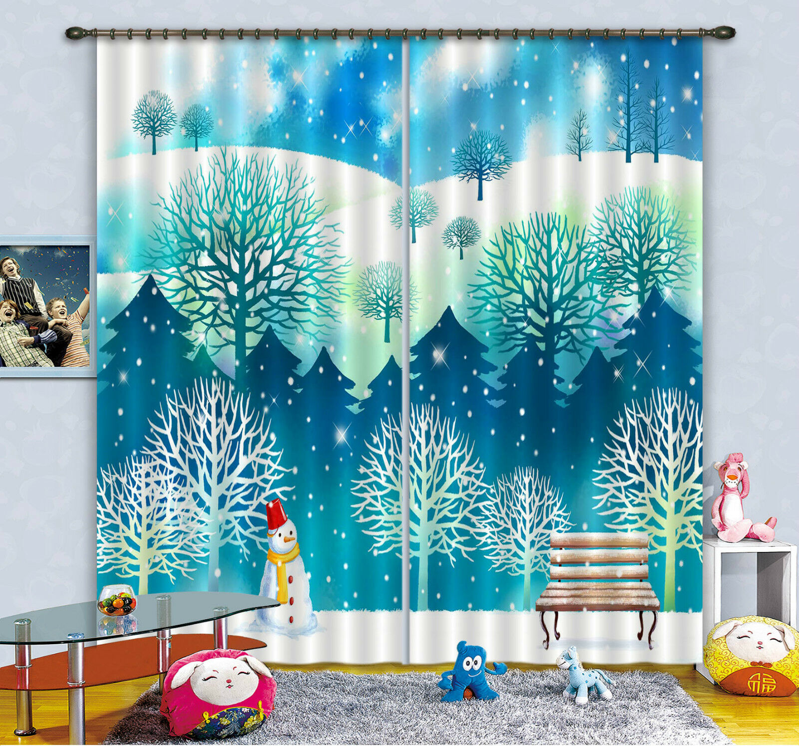 3d nieve vista 51 bloqueo foto cortina cortina de impresión sustancia cortinas de ventana