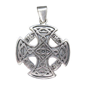 Sterling-Silver-Pendant-Celtic-Cross-Genuine-Solid-Hallmarked-925-Handmade