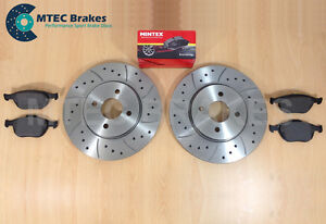 Focus-ST170-Drilled-Grooved-Front-Brake-Discs-amp-Pads