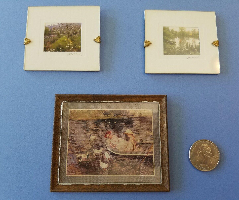 Foto autografiada de pintura de casa de muñecas en miniatura Monets Jardín Estanque Proehl Cassatt