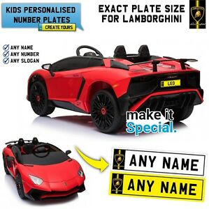 Details about Ride On Lamborghini SV Personalised Number Plate For Kid  Electric Car Exact Size