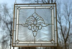 Handcrafted-stained-glass-Clear-Beveled-window-panel-20-5-034-x-20-5-034