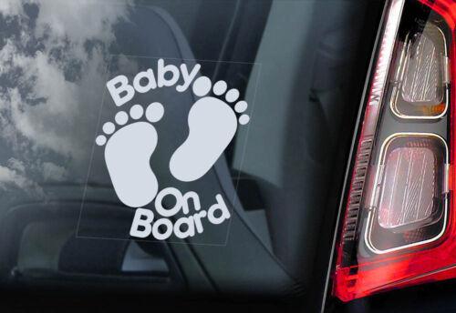 V05 Baby on Board Footprints Cartoon Decal PERSONALISE! Car Window Sticker