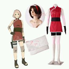 Cafiona Naruto Haruno Sakura Cosplay Costume Cheongsam Set Headband Custom Made