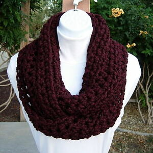 INFINITY-SCARF-Dark-Burgundy-Wine-Red-New-Handmade-Crochet-Knit-Winter-Loop-Cowl