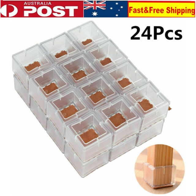 24 X Chair Leg Floor Protectors Square Silicone Caps Feet Pads Table Wood Covers