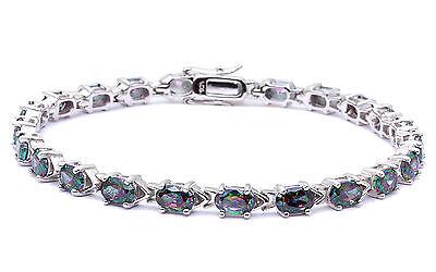 "10 CARAT OVAL Rainbow Colored Topaz .925 Sterling Silver Bracelet 7"""