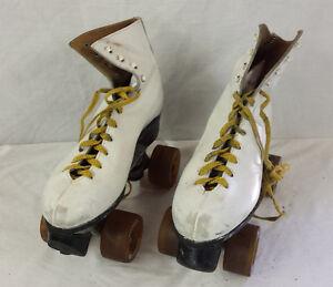 Vintage-Skates-Chicago-Roller-Skate-Co-White-Size-4