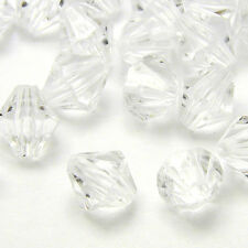 Lot of 100 Plastic Acrylic 8mm Double Cone Faceted Bicone Diamond Shaped Beads