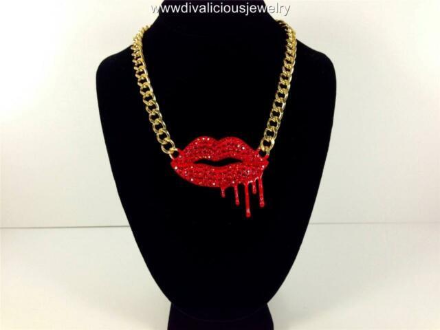 Vampire Bleeding True Red Blood Crystal Lips Diva Bling Necklace