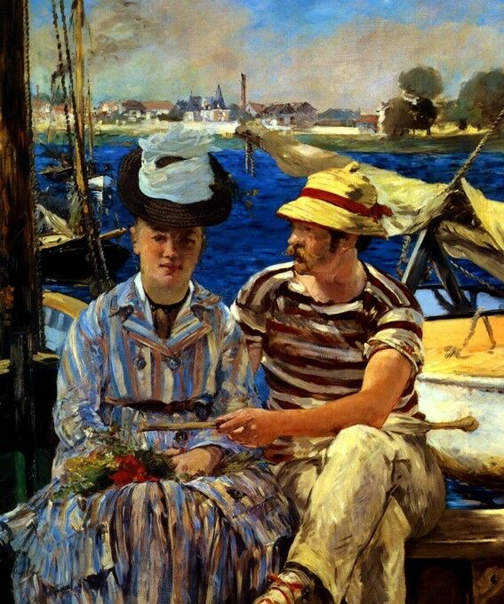 SilberEUIL FRANCE COUPLE SAILBOATS RIVER SUMMER 1874 PAINTING BY MANET REPRO