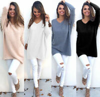 Women Casual Long Sleeve Knitted V Neck Pullover Loose Sweater Solid Jumper KUS