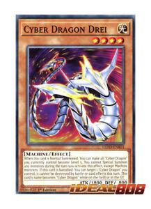 X3 YUGIOH CYBER DRAGON DREI LED3-EN020 COMMON 1ST IN HAND