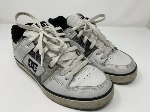 DC Pure 300660 Mens White Leather Lace Up Athletic Skate Shoes