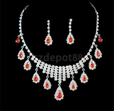 Wedding Bridal Red Rhinestone Crystal Teardrop Pendant Necklace And Earrings