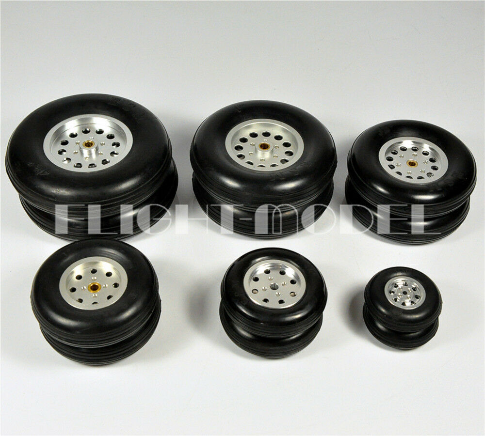 1 Pair 100% Solid Rubber Wheels Aluminum Hub 4.5inch 114.3mm For RC Plane Model