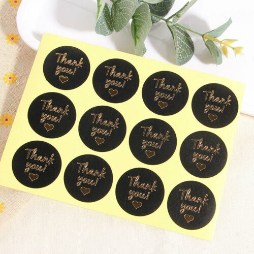 12//60//120Pcs Flowers Thank You Seal Labels Handmade Round Sticker Baking Gift