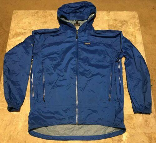Men's Patagonia bleu nylon full zip coupe-vent Veste à capuche adulte Taille L