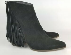 Steve-Madden-Country-Y-Suede-Ankle-Boot-Black-Suede-Fringe-Sz-10-Leather-Booties