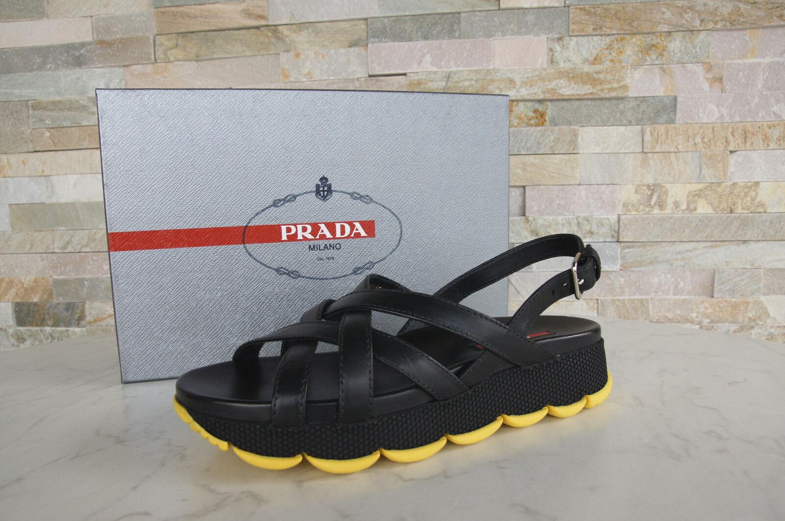 PRADA PRADA PRADA Gr 38 Sandalen Sandales 3X6170 Schuhe schwarz gelb NEU f5e201