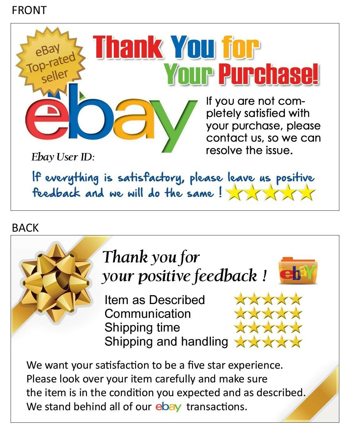 100 Thank You Cards For Ebay Seller Free Shipping W T Rated Seller Logo Ebay