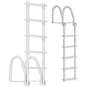 5 Step White Galvalume Fold Up Dock Ladder 400 Lb Weight
