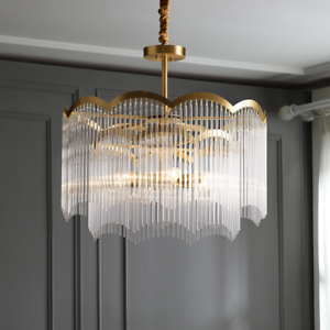 Modern Crystal Gold Chandelier Round Glass Dining Room Living Light Fixture