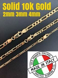 Real-Solid-10k-Gold-2-4mm-Figaro-Link-Chain-18-30-034-Men-039-s-Ladies-Italy-Necklace