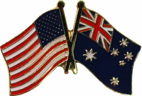 Wholesale Pack of 24 USA American Australia Friendship Flag Hat Cap lapel Pin