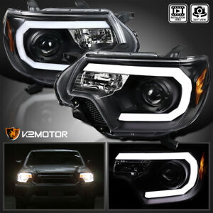For 2012-2015 Toyota Tacoma Black LED Strip Bar Projector Headlights Left+Right