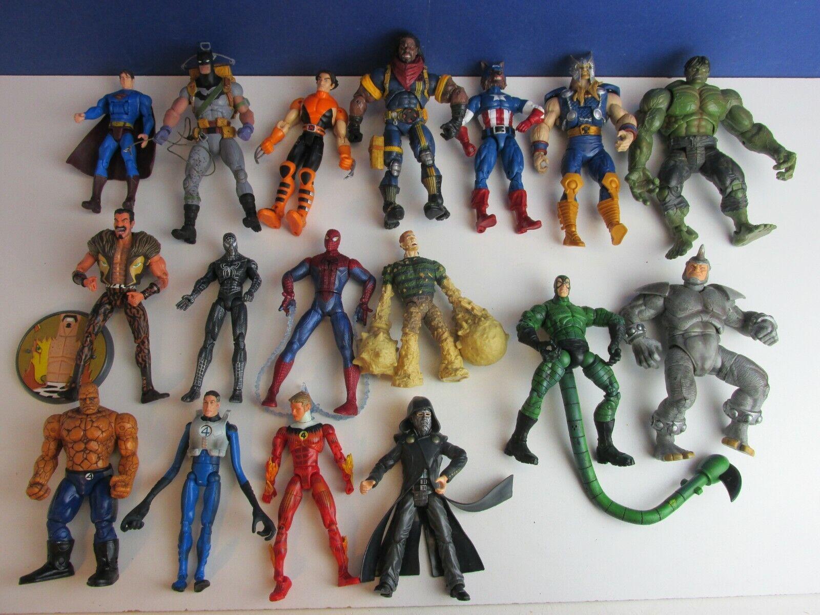 17 super hero ACTION FIGURE 7  LOT batman hulk thor ff4 rhino DC MARVEL set