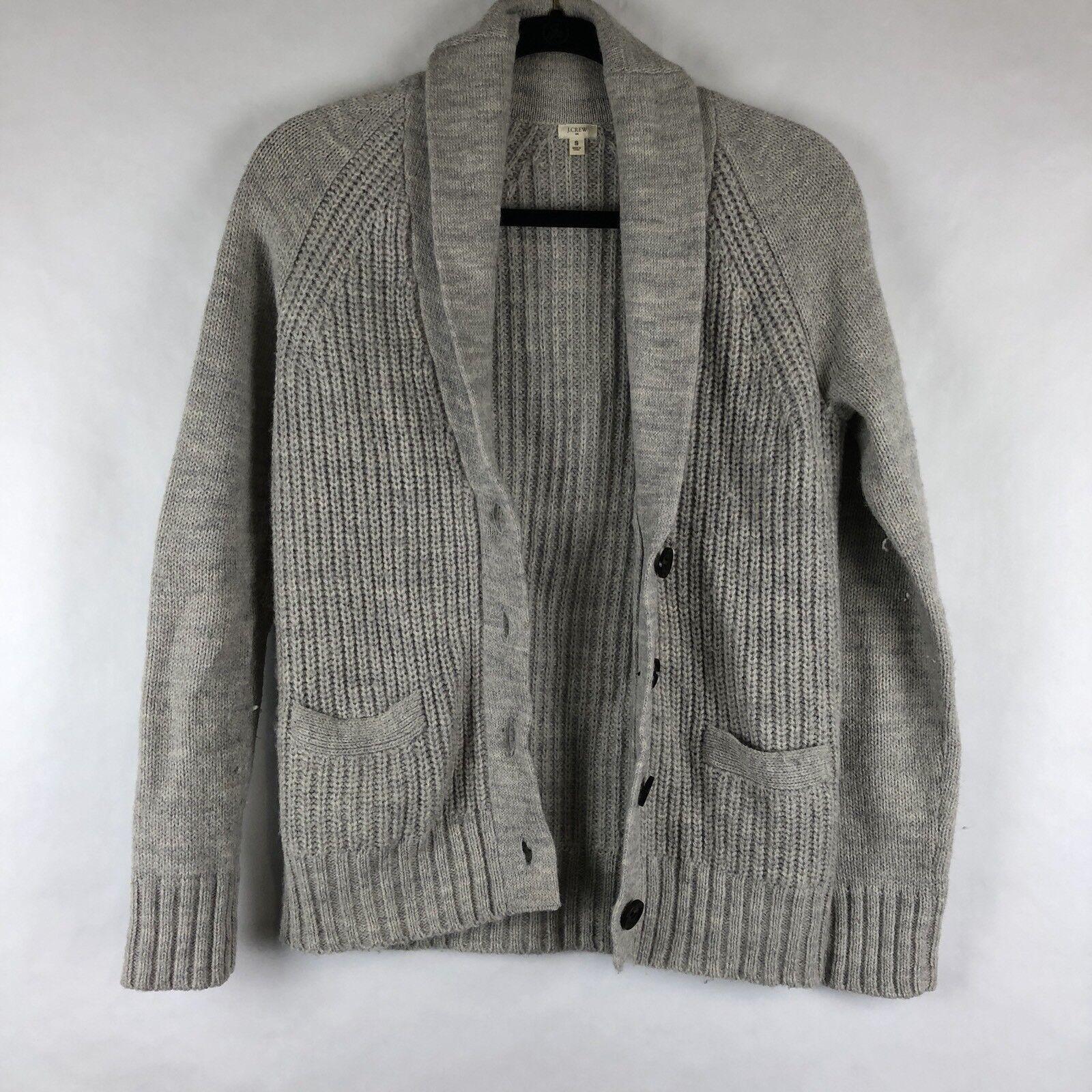 J Crew Womens Cardigan Size S Grey Knit Sweater Alpaca Wool Blend (BI)