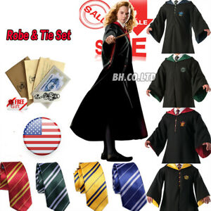 Harry-Potter-Hogwarts-Adult-Child-Robe-Cloak-Scarf-Halloween-COS-Costumes