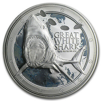 2012 1 oz Silver Niue $2 Great White Shark Coin - with Box and Certificate