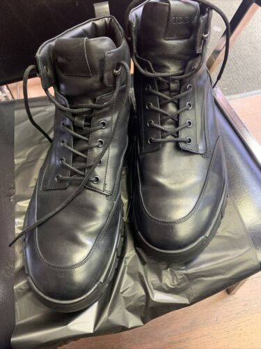 Tod's Mens Black Leather Boots Size US 12