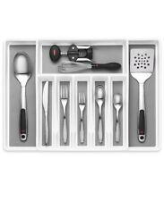 Silverware Tray BPA Free Grey Kitchen Utensil Organizer for Cutlery Silverware 16.0 x 6.3 x 2.4 Inches Cegar Expandable Kitchen Utensils Organizer