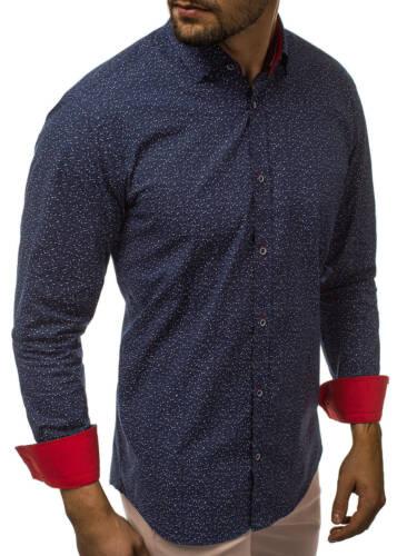 Uomo Camicia Business camicie manica lunga Slim Tempo Libero Casual OZONEE 10879 MIX