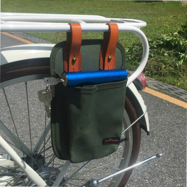 Tourbon Leinwand /& Leder Fahrrad B/ügelschloss Tote Bike Lock Bag