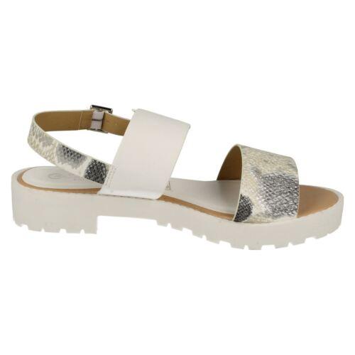 "Savannah F10418 Ladies White Snake Print Synthetic 1/"" Block Heel Casual Sandals"