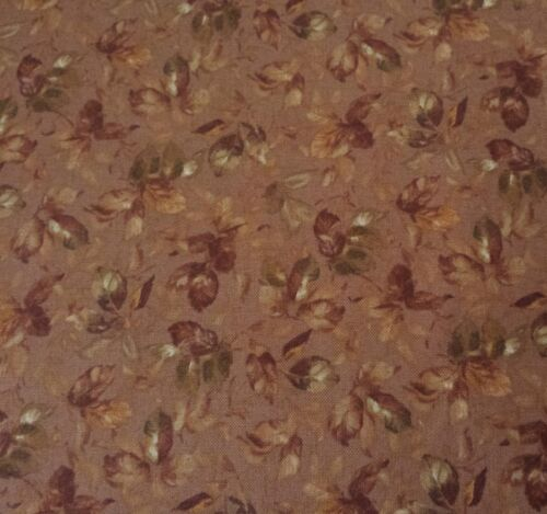 St Simon/'s Isle BTY by Fabri-Quilt Tonal Brown Green Gold Floral on Brown
