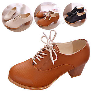 Women-Block-Heel-Prom-Shoes-Brogue-Oxford-Lace-Up-Ankle-Classical-Joker-Boots