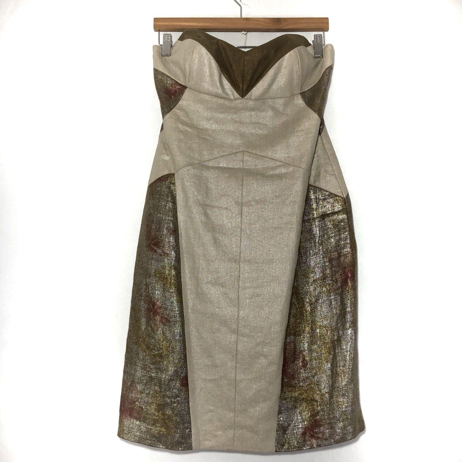 Nicole Miller Collection Dress Size 10 Brown Beige Linen Metallic Strapless