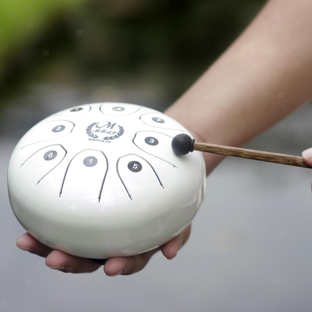 8 Note Tonge Drum 5,5 '' Percussion Instrument Mallets Tragetasche Weiß